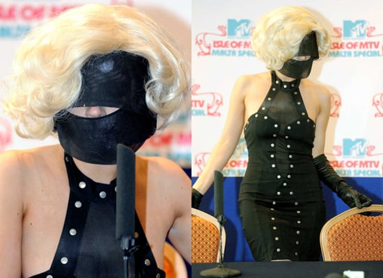 Photos of Lady Gaga in Black Mask, Art Piece, MTV Press Conference