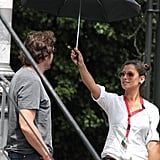 Javier Bardem with a personal umbrella holder.
