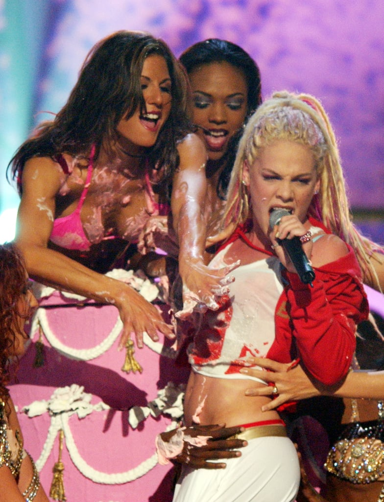 Pink rocked the microphone at the Billboard Music Awards in December 2001.