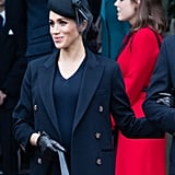 ‎Meghan Markle Carrying a Victoria Beckham Powder Box Bag in Black