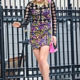 It's hard to miss Carrie in a neon geometric-print Nasty Gal body-con mini and colorblock Jessica Simpson sandals ($42-$50, originally $89). Make a bold statement in this sparkling mini from Nasty Gal ($88), or glam it up with this BCBG Max Azria number ($428) for a more sophisticated affair.