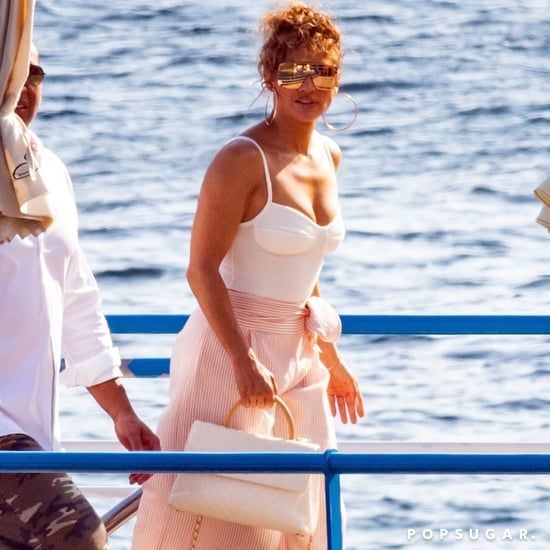 Jennifer Lopez White Bodysuit and Pink Pants in Italy 2018