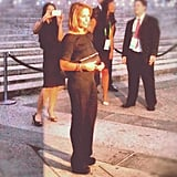 Katie Couric donned a black Tucker jumpsuit for the occasion.