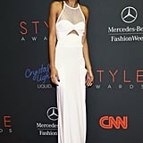 Chanel Iman popped against the red carpet in a sheer white cutout Emilio Pucci gown at the 10th annual Style Awards.