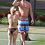 Hayden Panettiere faced off on the court with boyfriend, New York Jets wide receiver, Scotty McKnight, while playing basketball in Hawaii.