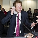 Prince Harry got into the spirit of the morning's events.
