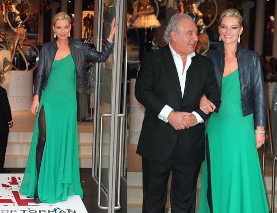 Kate Moss Attends Topshop NYC Opening in Emerald Green Kate Moss For Topshop Dress