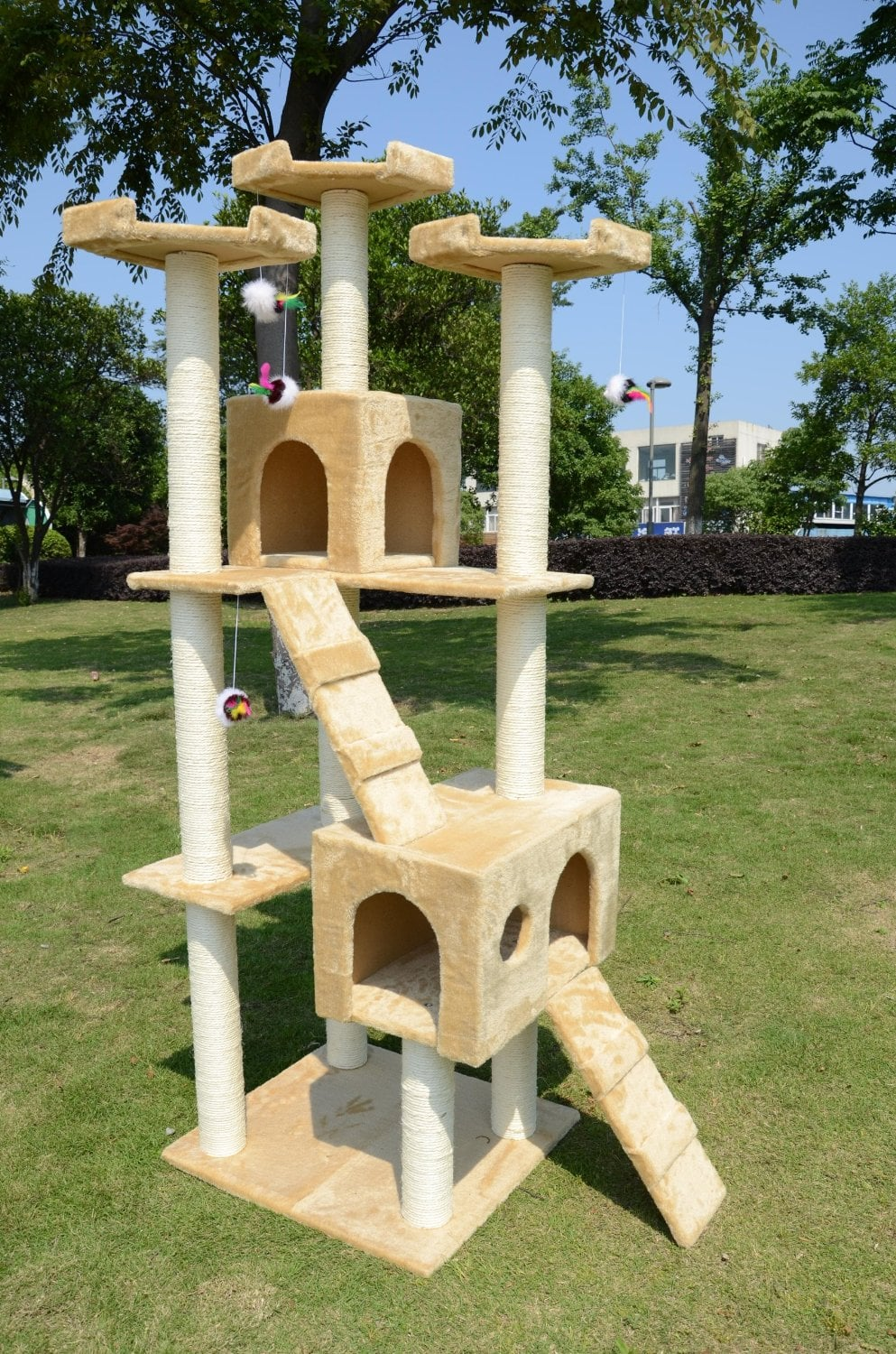 tree house for cats got more than one cat the pawhut cat tree 160 features multiple amazoncom furniture 62quot industrial wood
