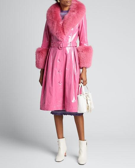 Saks Potts Foxy Gloss Lamb Leather Fox Fur-Trim Coat
