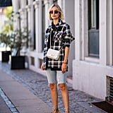 Style Light-Wash Shorts With a Plaid Shirt and Ankle-Strap Heels