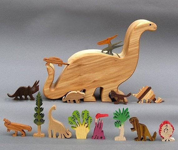 Wooden Dinosaur Toy Set