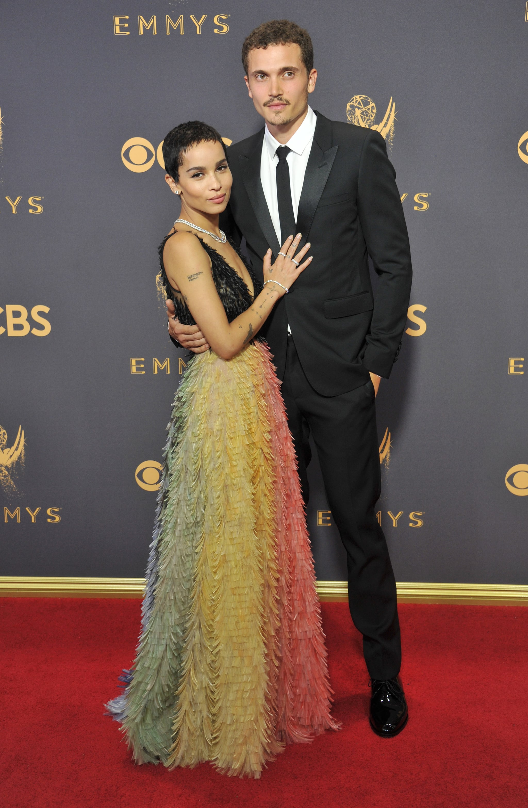 LOS ANGELES, CA - SEPTEMBER 17:  Zoe Kravitz and Karl Glusman arrive at the 69th Annual Primetime Emmy Awards at Microsoft Theater on September 17, 2017 in Los Angeles, California.  (Photo by Gregg DeGuire/Getty Images)