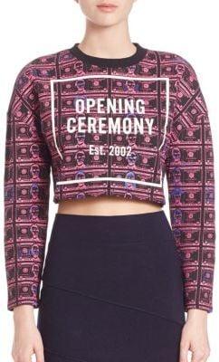 Opening Ceremony Money-Print Cropped Sweatshirt