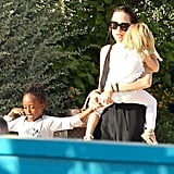 Angelina Jolie carried her daughters in Malta.