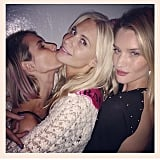Emma Roberts smooched Poppy Delevingne alongside Rosie Huntington-Whiteley. Source: Instagram user emmaroberts6