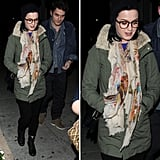 Katy Perry made a strong case for pairing soft prints with army-green anorak and lace-up combat boots.