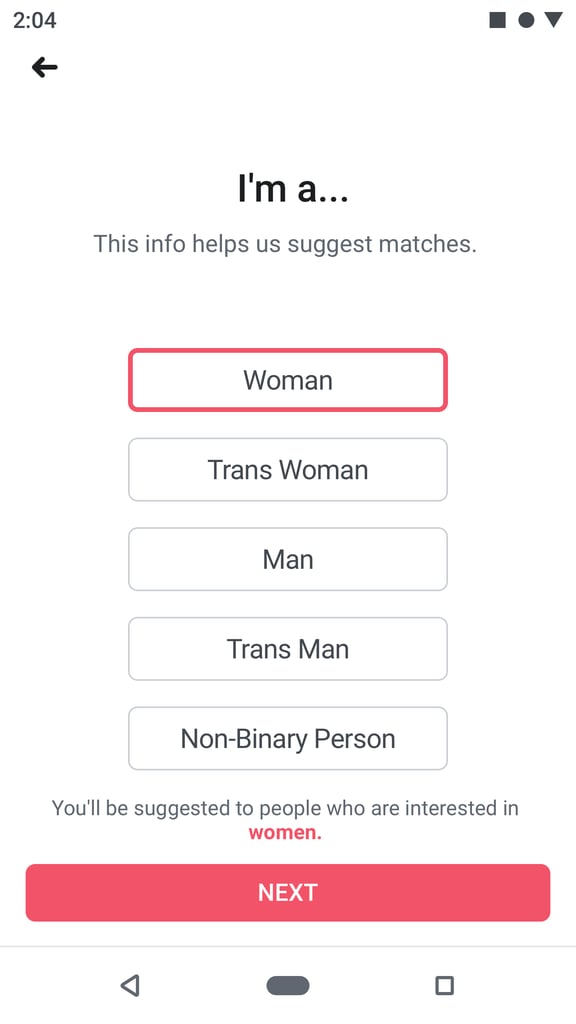 Start by setting up your profile and selecting how you identify.