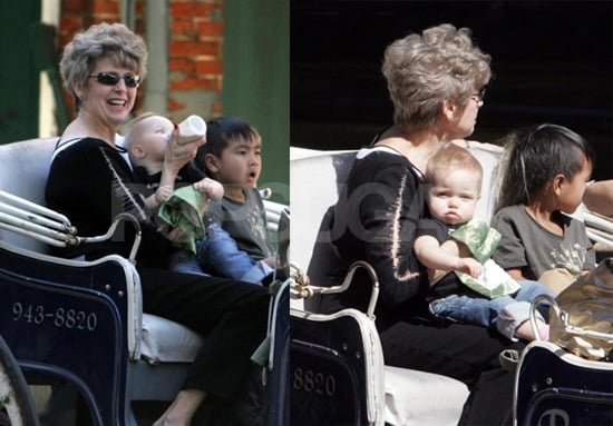 Shiloh and Maddox Take a Ride with Grandma Pitt
