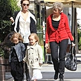 Knox Jolie-Pitt and Vivienne Jolie-Pitt looked stylish for a shopping trip with mom Angelina Jolie in LA in March 2012.
