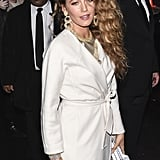Blake Lively's Silver Dress at Versace Show