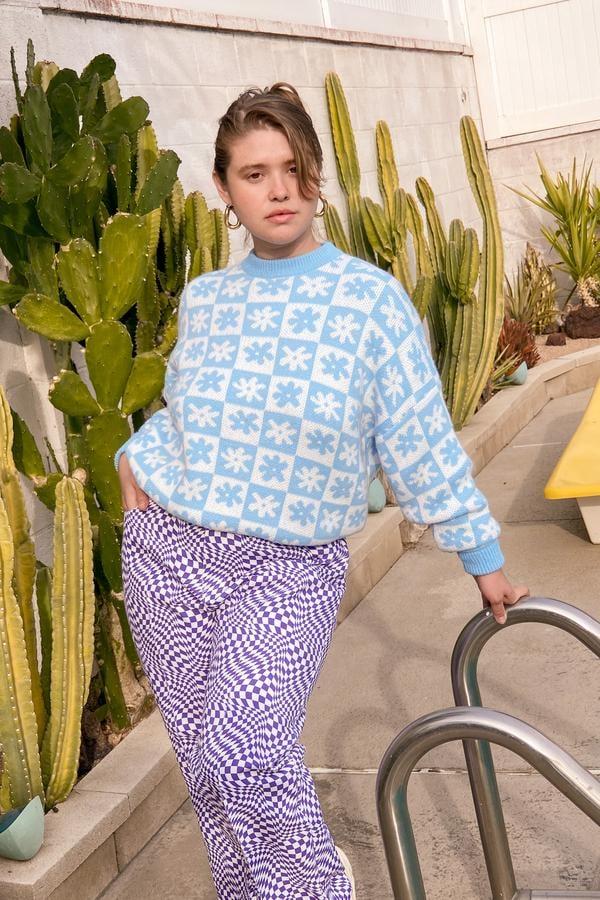 Lisa Says Gah! x KJP Emma Sweater - Blue Daisy Check
