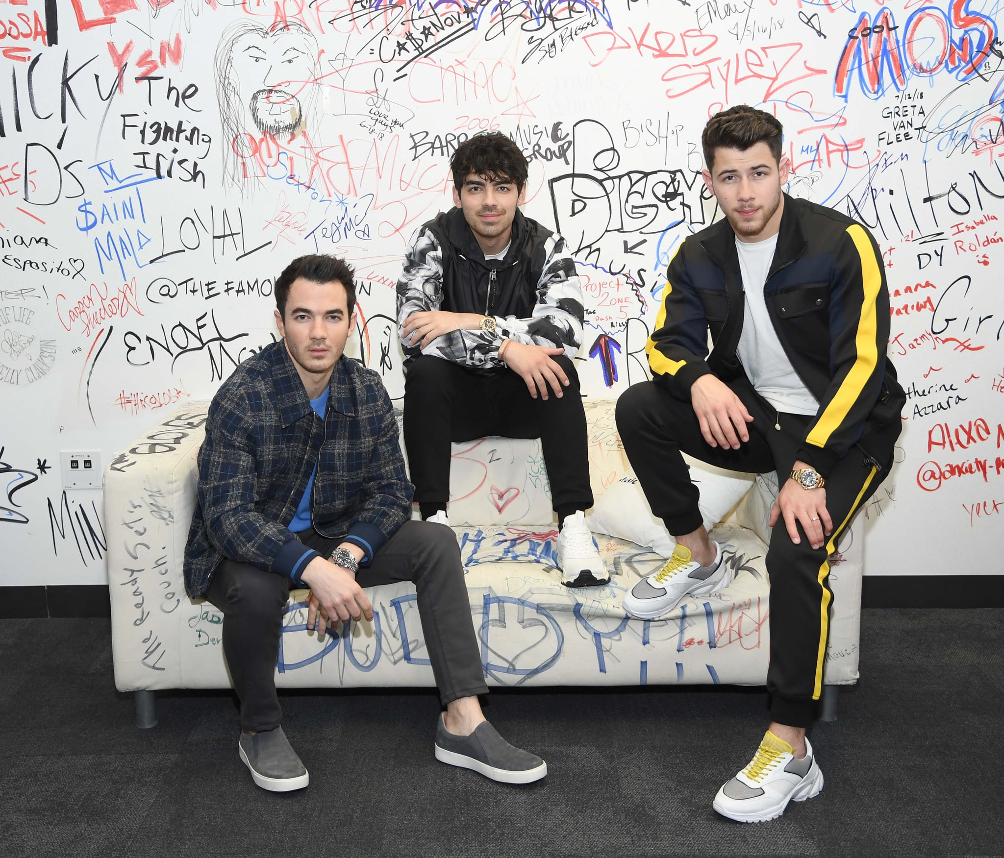 NEW YORK, NEW YORK - MARCH 01: (EXCLUSIVE COVERAGE) Kevin Jonas, Joe Jonas, Nick Jonas of  The Jonas Brothers Visit Music Choice on March 01, 2019 in New York City. (Photo by Dimitrios Kambouris/Getty Images)
