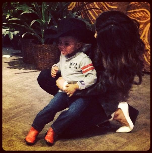 Selena Gomez thought a tiny cowboy was adorable. Source: Instagram user selenagomez