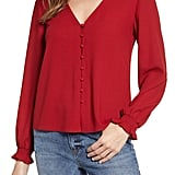 1.STATE Button-Front Blouse