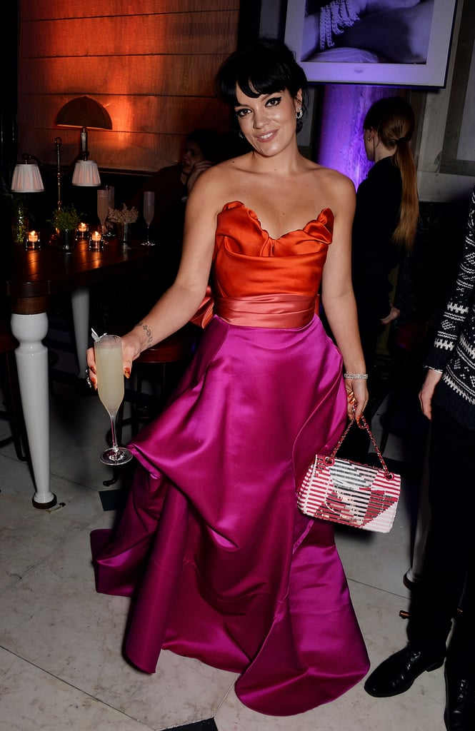 Lily Allen grabbed a drink at the Weinstein fete. Keep scrolling for more photos from the two afterparties.