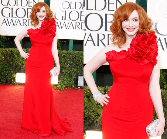 Christina Hendricks is a lady in red at the 2011 Golden Globe Awards
