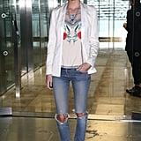 Poppy Delevingne was casually cool at Matthew Williamson.
