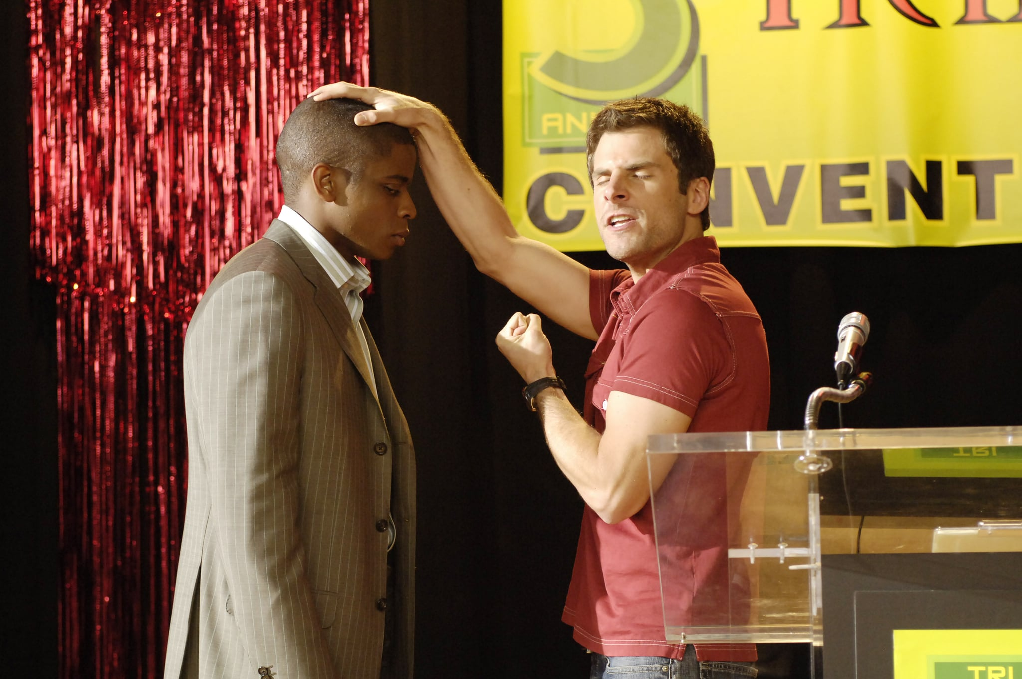 PSYCH, Dule Hill, James Roday, 'Shawn vs. the Red Phantom', (Season 1, airing August 25, 2006), 2006-, photo: Alan Zenuk /  USA Network / Courtesy: Everett Collection