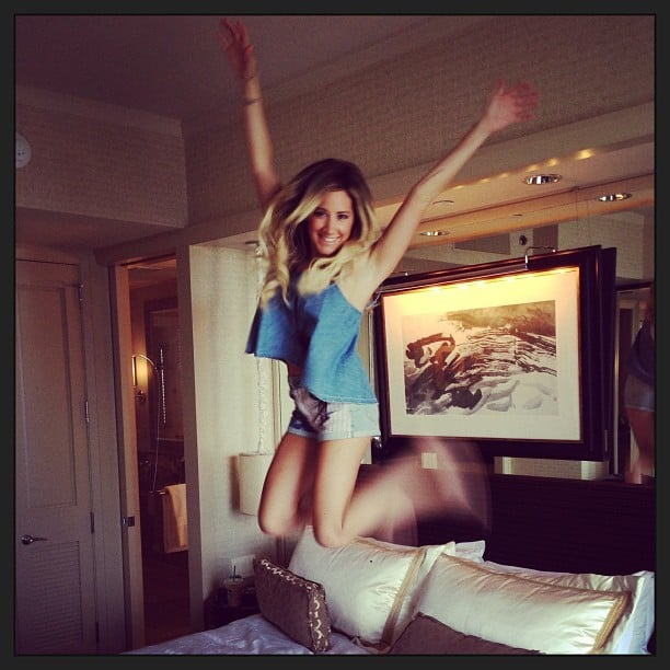 Ashley Tisdale celebrated her independence by jumping on a bed. Source: Instagram user ashleytisdale
