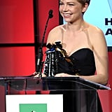 Michelle Williams showed her gratitude for being honored at the Hollywood Film Awards.