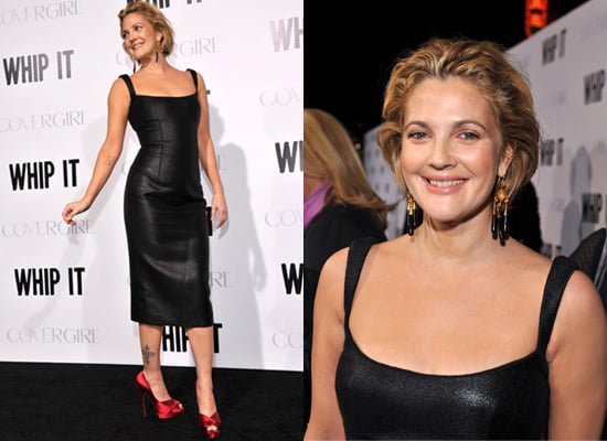 Photos of Drew Barrymore at Whip It Premiere in Long Body Hugging Dress