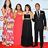 Jessica Steffens, Brenda Villa, Marien Esparza, and Danell Leyva showed off their medals at the ALMA Awards in LA.