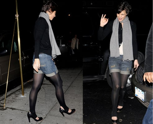 Katie Holmes Wears Stirrup Tights in New York