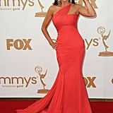 Best supporting actress in a comedy nominee and Modern Family star Sofia Vergara wore coral.