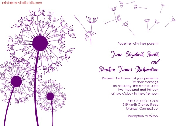 Dandelion Wedding Invitation Free Printable Wedding Invitations