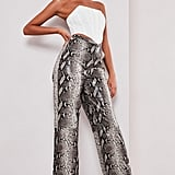 Sofia Richie x Missguided Brown Snake Print Faux Leather Pants
