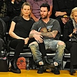 Adam Levine and Behati Prinsloo at LA Lakers Game 2017