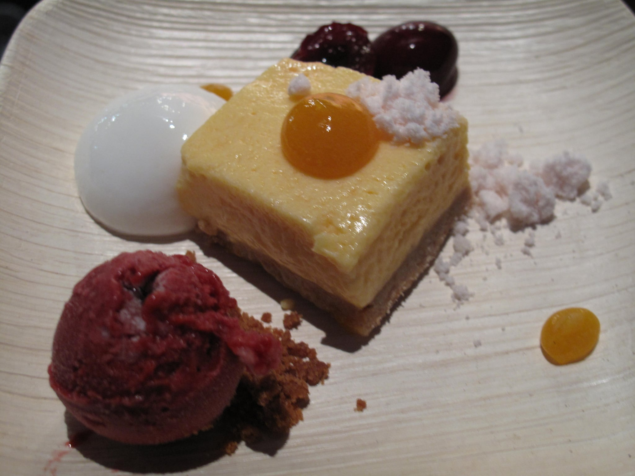 Pastry chef Catherine Schimenti of Michael Mina made an apricot mousse, cherries, and lemon verbena.