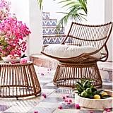 Borealis Patio Papasan Chair and Ottoman Set