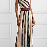 Missoni One-Shoulder Striped Metallic Crochet-Knit Maxi Dress