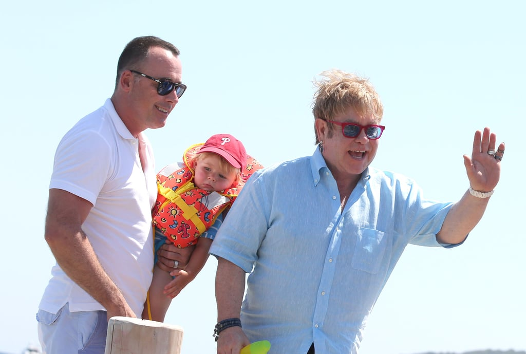 Elton John waved in Saint-Tropez.