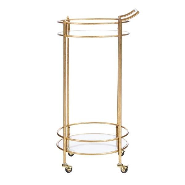 Home Decorators Collection Bella Gold Leaf Metal and Glass Rolling Bar Cart