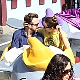 Olivia Wilde and Jason Sudeikis rode a children's ride.