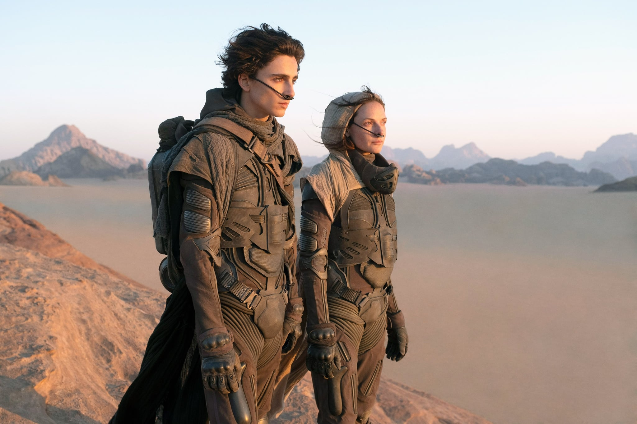 DUNE, from left: from left: Timothee Chalamet, Rebecca Ferguson, 2020. ph: Chiabella James /  Warner Bros. / Courtesy Everett Collection