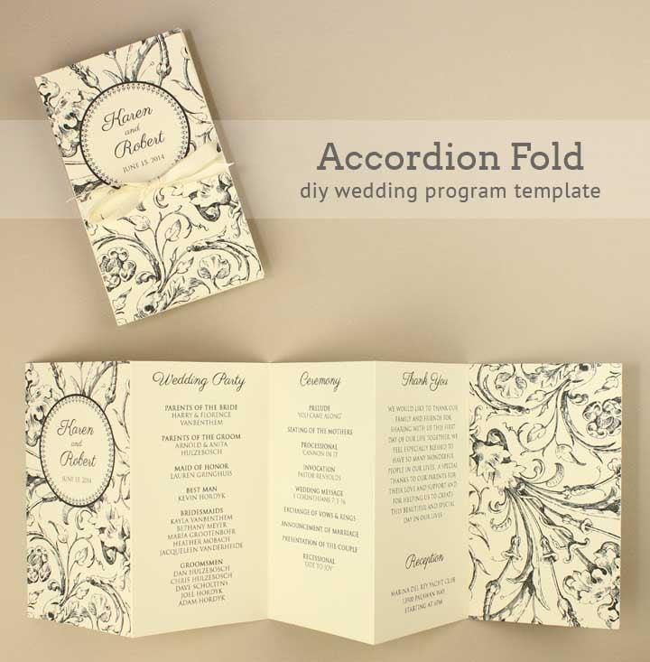 Accordion Wedding Program 17 Unique And Free Printable Wedding Programs
