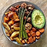 Roasted peppers, asparagus, potatoes, sweet potatoes, carrots, mushroom, and avocado